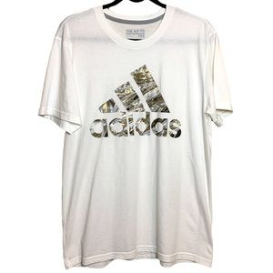 Adidas the go to tee white and camo Sz L